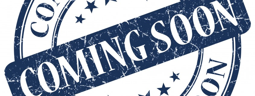 COMING SOON Blue grunge stamp on white background